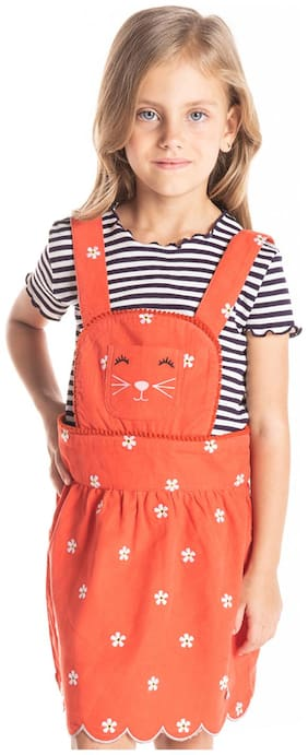 Cherry Crumble By Nitt Hyman Orange Cotton Sleeveless Knee Length Princess Frock ( Pack of 1 )