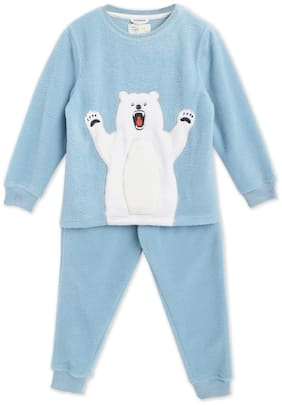 Cherry Crumble By Nitt Hyman Baby boy Cotton blend Printed Sleep suit - Blue
