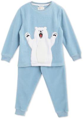 Cherry Crumble By Nitt Hyman Baby boy Cotton blend Printed Sleep suit - Blue