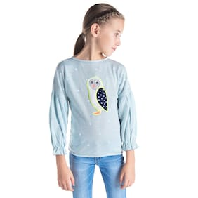 Cherry Crumble Boy Polyester Solid Sweatshirt - Blue