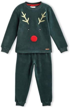 Cherry Crumble By Nitt Hyman Happy printed nightsuit Top & Pyjama Set Green