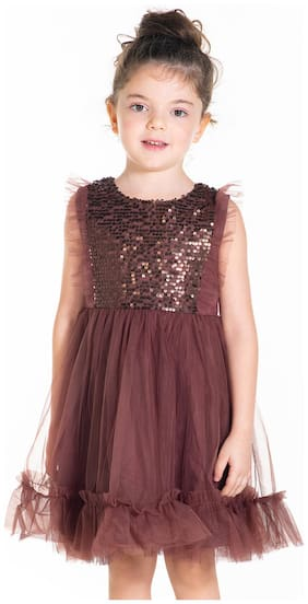 Cherry Crumble By Nitt Hyman Brown Polyester Sleeveless Knee Length Princess Frock ( Pack of 1 )