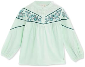 Cherry Crumble By Nitt Hyman Cotton Printed Top for Baby Girl - Green