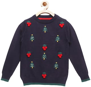 Cherry Crumble By Nitt Hyman Boy Poly cotton Printed Sweater - Blue