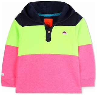 Cherry Crumble Boy Polyester Solid Sweatshirt - Pink