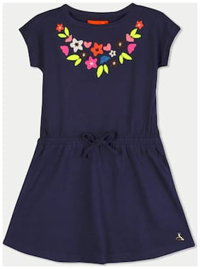 Cherry Crumble By Nitt Hyman Blue Cotton Short Sleeves Knee Length Princess Frock ( Pack of 1 )