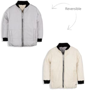 Cherry Crumble By Nitt Hyman Boy Polyester Solid Winter jacket - White