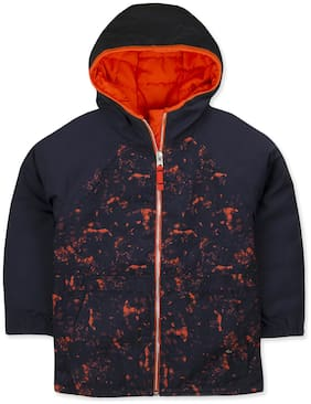 Cherry Crumble Boy Polyester Printed Winter jacket - Blue