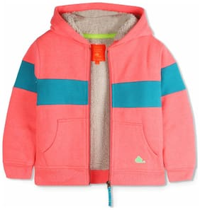 Cherry Crumble Boy Polyester Striped Winter jacket - Red