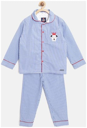 Cherry Crumble Top & Pyjama Set Nightwear For Boys (Blue)