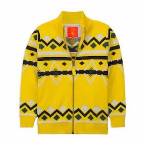 Cherry Crumble By Nitt Hyman Boy Poly cotton Printed Sweater - Yellow