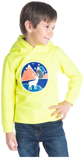 Cherry Crumble By Nitt Hyman Boy Poly cotton Printed Sweatshirt - Yellow