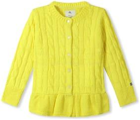 CHERRY CRUMBLE Girl Acrylic Solid Sweater - Yellow