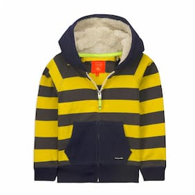 Cherry Crumble By Nitt Hyman Boy Poly cotton Striped Sweatshirt - Yellow