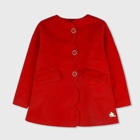 Cherry Crumble Girl Cotton Blend Solid Winter Jacket - Red