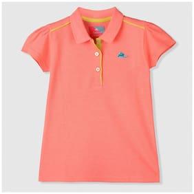 Cherry Crumble By Nitt Hyman Girl Cotton Solid Shirt - Orange