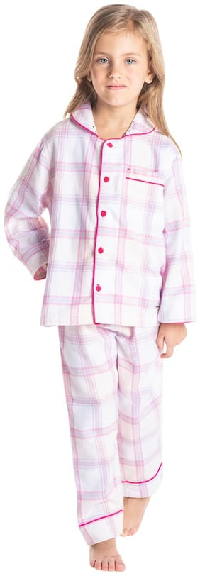 Cherry Crumble Girl's Cotton Checked Top & pyjama set - Pink