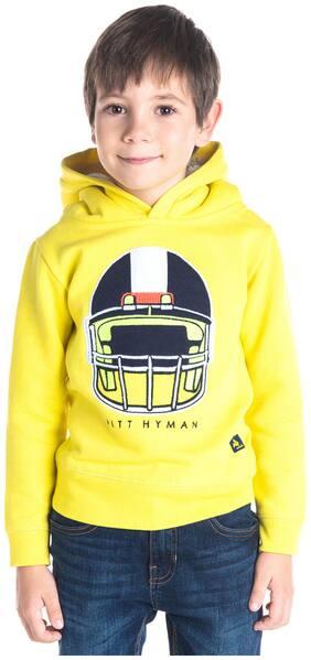 Cherry Crumble Boy Poly cotton Solid Sweatshirt - Yellow