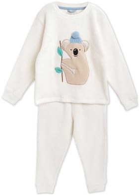 Cherry Crumble By Nitt Hyman Applique Winter Nightsuit with Eye Mask Cream