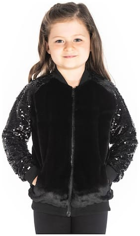 Cherry Crumble By Nitt Hyman Baby girl Polyester Solid Winter jacket - Black