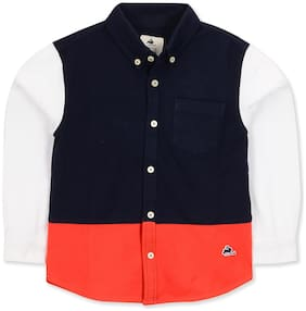 Cherry Crumble By Nitt Hyman Poly cotton Colorblocked Shirt for Unisex Infants - Multi