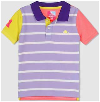 Cherry Crumble By Nitt Hyman Cotton Solid T shirt for Baby Boy - Purple