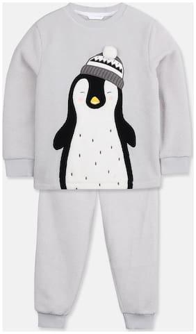 Cherry Crumble By Nitt Hyman Girl's Poly cotton Printed Top & pyjama set - Grey