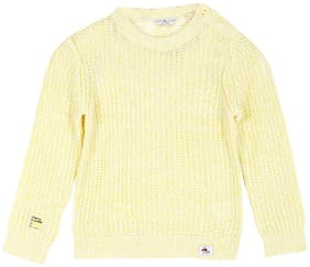 Cherry Crumble By Nitt Hyman Boy Blended Solid Sweater - Yellow