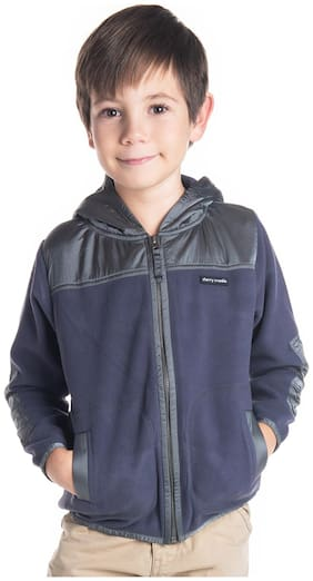 Cherry Crumble By Nitt Hyman Boy Polyester Solid Winter jacket - Grey