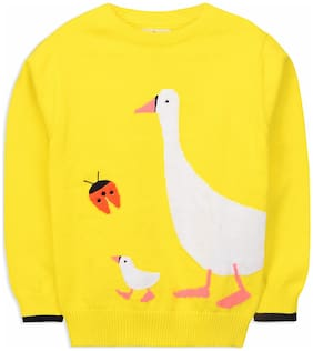 Cherry Crumble By Nitt Hyman Girl Cotton blend Solid Sweater - Yellow