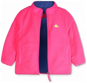 Cherry Crumble Girl Polyester Solid Winter jacket - Pink