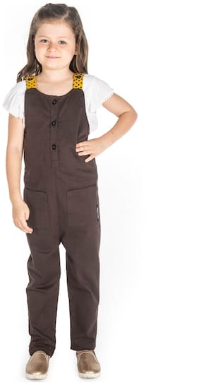 Cherry Crumble Cotton Solid Dungaree For Girl - Brown