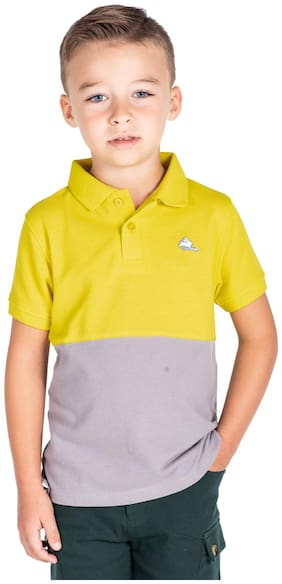 Cherry Crumble Boy Cotton Solid T-shirt - Yellow