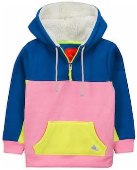 Cherry Crumble By Nitt Hyman Boy Poly cotton Colorblocked Sweatshirt - Blue & Pink