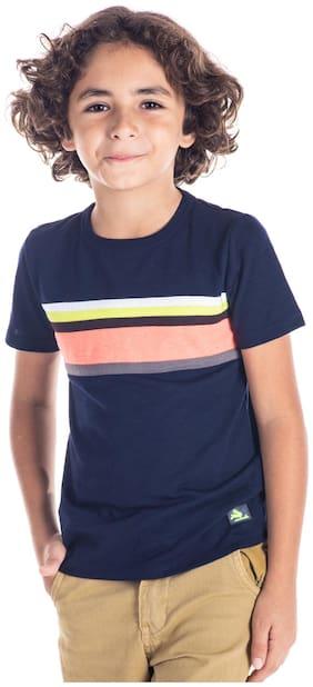 Cherry Crumble Boy Cotton Printed T-shirt - Blue
