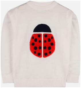 Cherry Crumble Boy Acrylic Solid Sweater - White