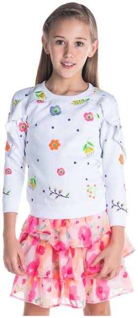 Cherry Crumble By Nitt Hyman Boy Poly cotton Solid Sweatshirt - White