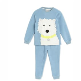 Cherry Crumble By Nitt Hyman Calm Puppy Winter Nightsuit with Eye Mask Blue