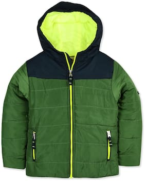 Cherry Crumble Boy Polyester Colorblocked Winter jacket - Green