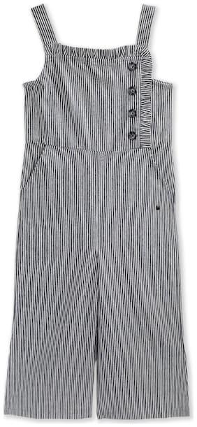 Cherry Crumble By Nitt Hyman Cotton blend Striped Romper For Girl - Black