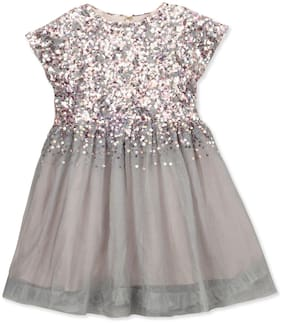 Cherry Crumble By Nitt Hyman Grey Net Sleeveless Knee Length Princess Frock ( Pack of 1 )