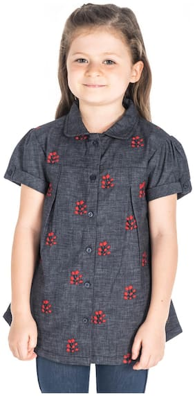 Cherry Crumble By Nitt Hyman Girl Cotton Printed Shirt - Grey
