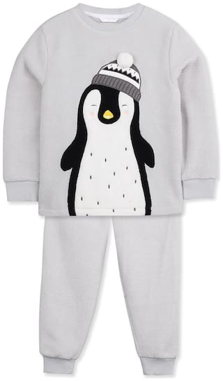Cherry Crumble By Nitt Hyman Penguin Applique Nightsuit Grey