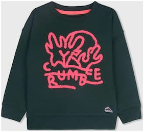 Cherry Crumble Boy Cotton blend Solid Sweatshirt - Green