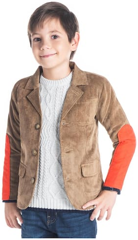 Cherry Crumble By Nitt Hyman Boy Poly cotton Solid Winter jacket - Brown