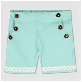 Cherry Crumble By Nitt Hyman Girl Cotton Solid Regular shorts - Blue