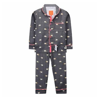 Cherry Crumble By Nitt Hyman Bear Nightsuit Grey