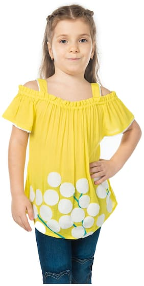 Cherry Crumble By Nitt Hyman Girl Cotton Embellished Top - Yellow