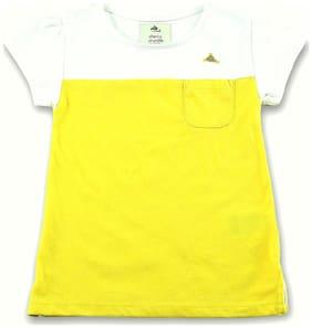 Cherry Crumble By Nitt Hyman Cotton Printed T shirt for Baby Girl - Yellow