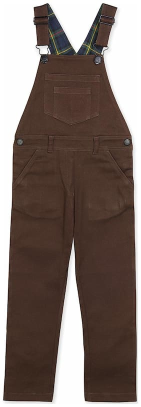 Cherry Crumble Blended Solid Dungaree For Girl - Brown